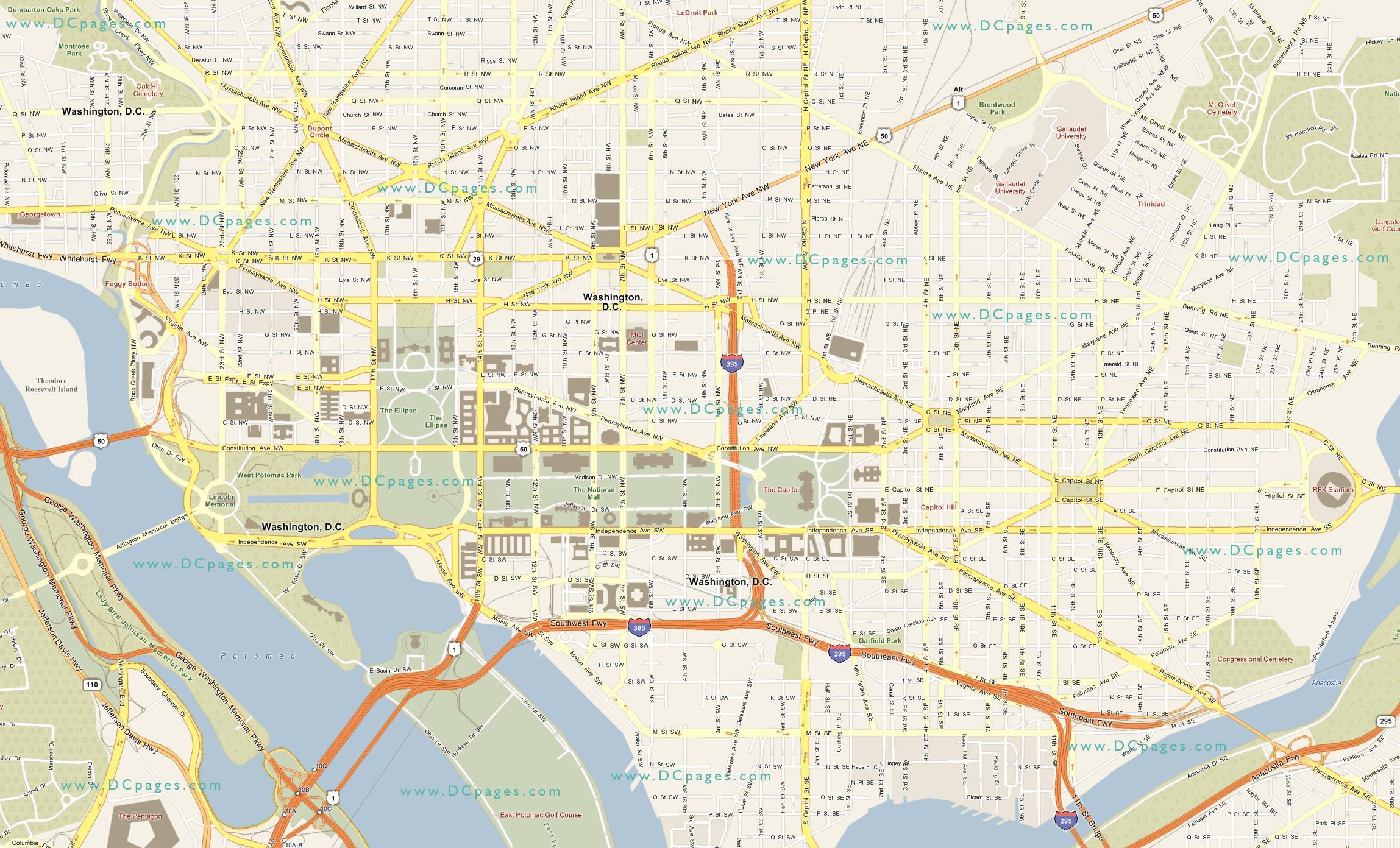 Street Kart Over Washington Dc Dc Street Map District Of