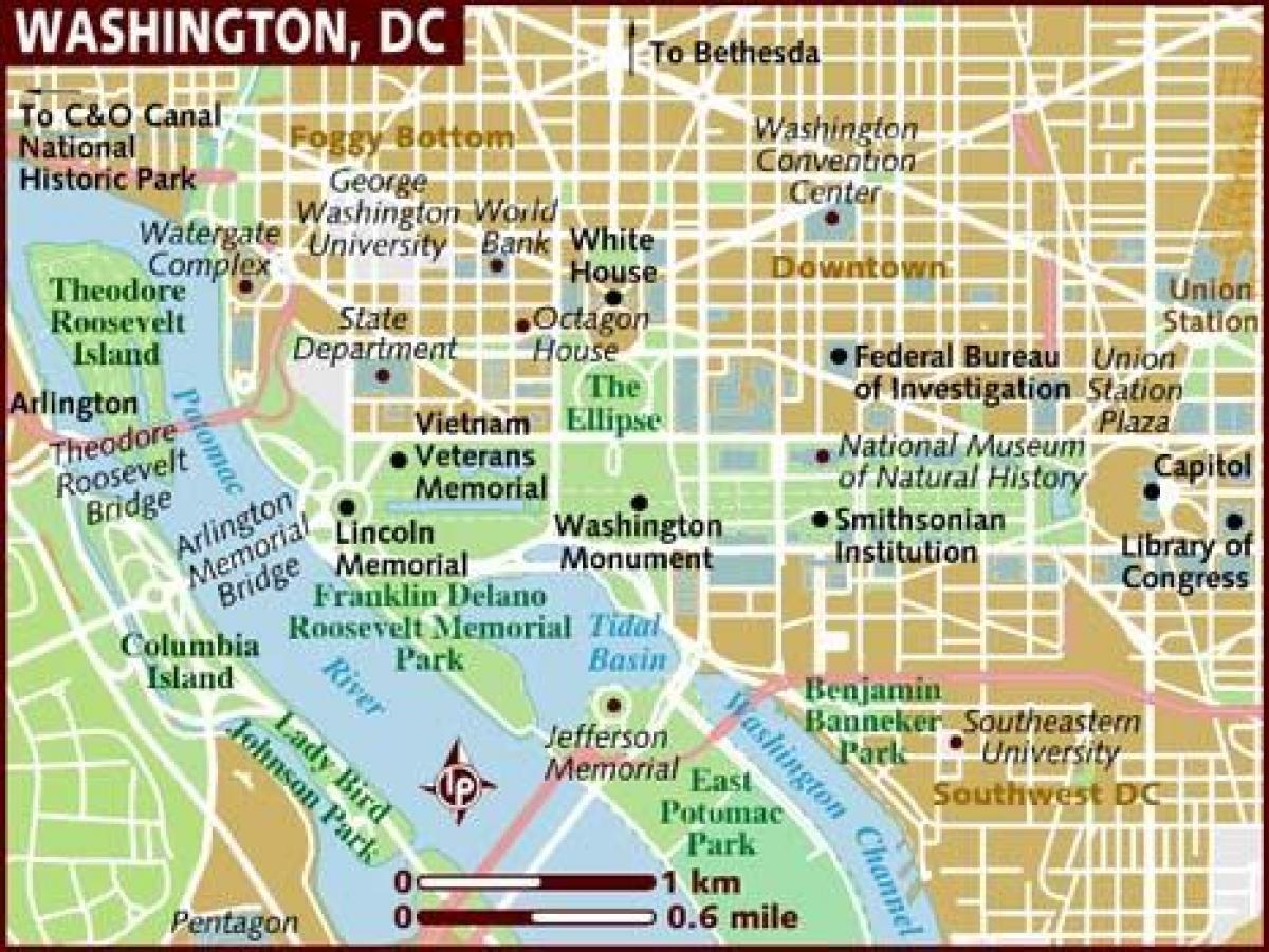 Kart Over Washington Dc Et Kart Over Washington Dc District Of